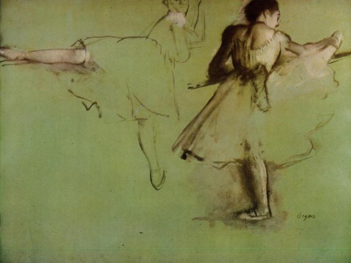 """""""Tanečnice pri barre"""", 1877, Edgar Degas. Taká elegantná som nikdy nebola, ale aspoň nohu som zdvihnúť vedela :D"""